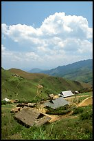 Hamlet near the pass between Son La and Lai Chau. Northwest Vietnam