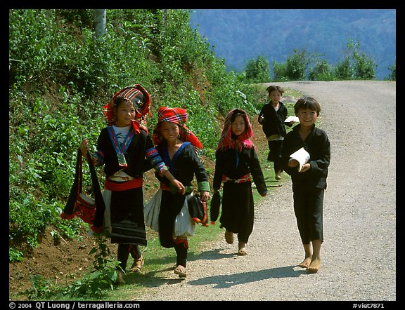 Hmong kids returning from school, near Lai Chau. Northwest Vietnam (color)