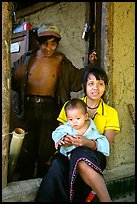 Family in a minority village, between Lai Chau and Tam Duong. Northwest Vietnam (color)