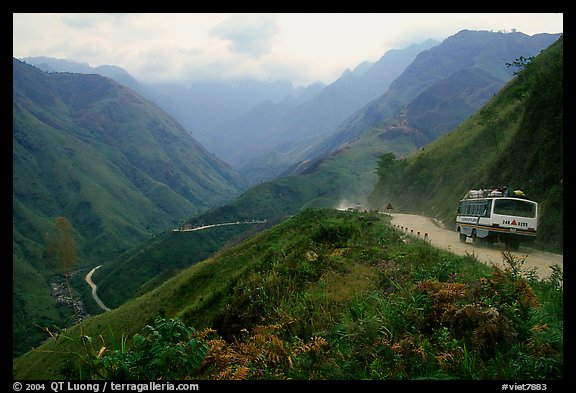 Steep road ascends the Tram Ton Pass near Sapa. Northwest Vietnam (color)