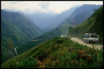 Steep road ascends the Tram Ton Pass near Sapa. Northwest Vietnam
