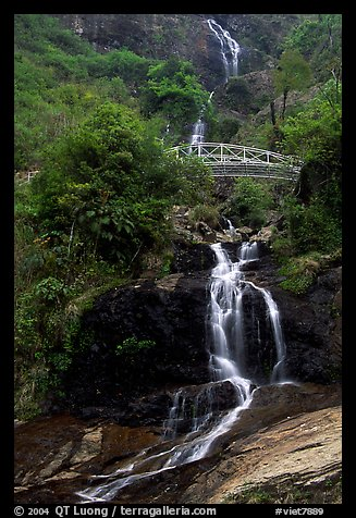 Silver Falls and bridge near Sapa. Sapa, Vietnam