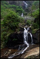 Silver Falls and bridge near Sapa. Sapa, Vietnam (color)