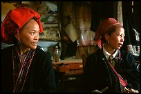 Two Red Dzao women. Sapa, Vietnam (color)