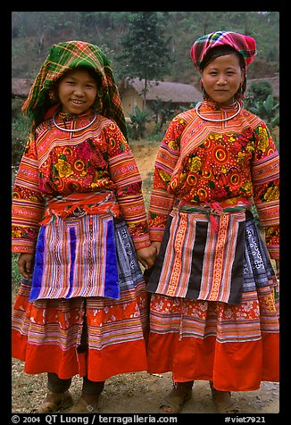 Two Flower Hmong girls. Vietnam (color)