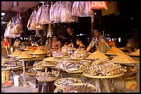 A variety of dried shrimp and fish for sale. Ha Tien, Vietnam (color)