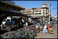Bicycles parked near the Bin Tay market, district 6. Cholon, Ho Chi Minh City, Vietnam (color)