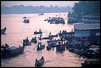 Busy river  at sunrise. Can Tho, Vietnam
