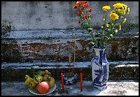 Flowers, fruit, and incense offered on a grave, Ben Tre. Mekong Delta, Vietnam