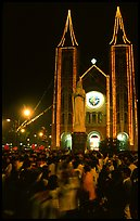 Crowds gather at the Cathedral St Joseph for Christmans. Ho Chi Minh City, Vietnam (color)