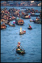 Boats at the Cai Rang floating market. Can Tho, Vietnam ( color)