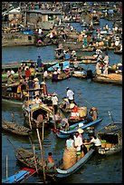 Boats at the Cai Rang floating market, early morning. Can Tho, Vietnam (color)