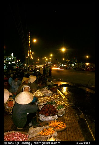 Night market, with the little Eiffel Tower in the background. Da Lat, Vietnam (color)