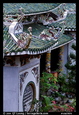 Roofs detail of one of the sanctuaries on the Marble Mountains. Da Nang, Vietnam (color)
