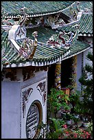 Roofs detail of one of the sanctuaries on the Marble Mountains. Da Nang, Vietnam