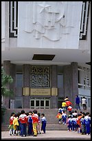 School children visiting Ho Chi Minh museum. Hanoi, Vietnam (color)