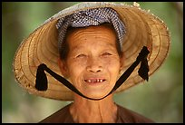 Villager with conical hat, Ben Tre. Vietnam ( color)