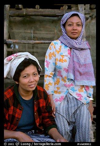 Muslem women from Cham minority village, near Chau Doc. Vietnam (color)