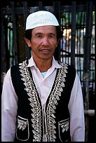 Muslem man from Cham minority village, near Chau Doc. Vietnam (color)