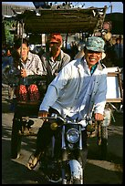 Xe loi driver and passengers. Chau Doc, Vietnam (color)