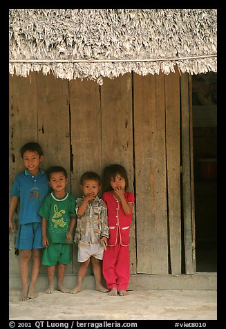 Children in front of rural hut, Hon Chong. Vietnam (color)
