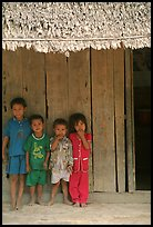 Children in front of rural hut, Hon Chong. Vietnam