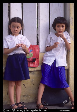 Uniformed junior school girls, Ho Chi Minh city. Vietnam