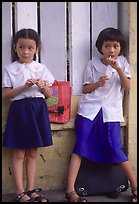 Uniformed junior school girls, Ho Chi Minh city. Vietnam (color)