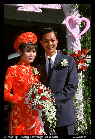Just married couple, Ho Chi Minh city. Vietnam (color)