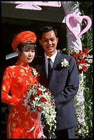 Just married couple, Ho Chi Minh city. Vietnam