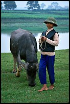 Boy wearing the Boi Doi military hat popular in the North, with water buffalo, near Ninh Binh. Vietnam ( color)