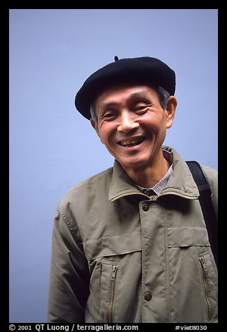 Wearing the French beret, is only one of the influences left from the colonial period among the older generations, Hanoi. Vietnam (color)