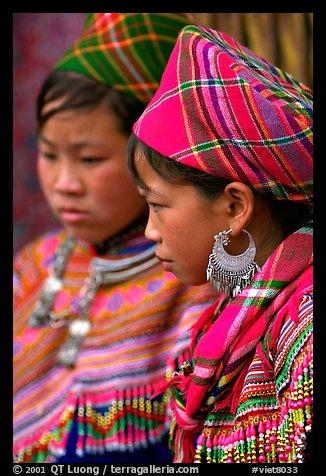 Young Flower Hmong women, Bac Ha. Vietnam (color)
