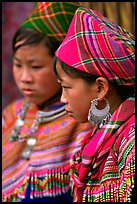 Young Flower Hmong women, Bac Ha. Vietnam (color)