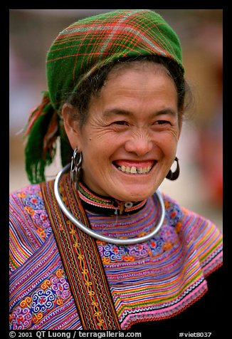 Flower Hmong woman in everyday ethnic dress,  Bac Ha. Vietnam (color)