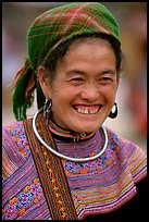 Flower Hmong woman in everyday ethnic dress,  Bac Ha. Vietnam