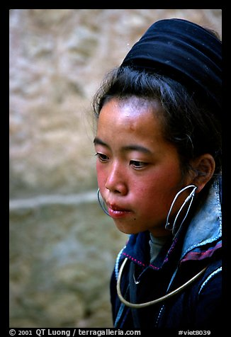Black Hmong girl in everyday ethnic dress, Sapa. Vietnam (color)