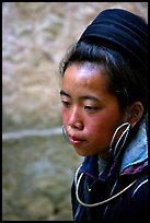 Black Hmong girl in everyday ethnic dress, Sapa. Vietnam ( color)
