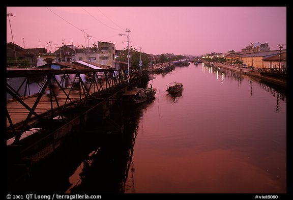 Evening on the Saigon arroyo. Cholon, Ho Chi Minh City, Vietnam (color)