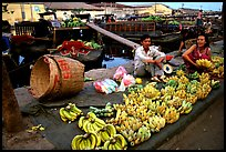 Selling freshly unloaded bananas near the Saigon arroyo. Cholon, Ho Chi Minh City, Vietnam (color)