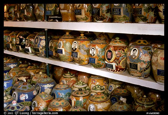 Cremation is popular. Ashes are collected in individual funeral urns. Ho Chi Minh City, Vietnam (color)