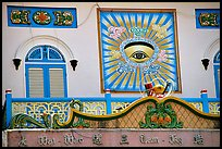 The Cao Dai religion most noteworthy symbol is the all seeing  eye. Tay Ninh, Vietnam (color)