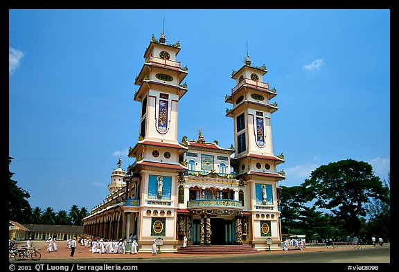 The great Cao Dai temple, with oriental and occidental features. Tay Ninh, Vietnam