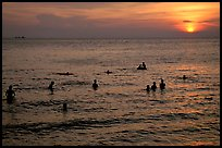 Soaking in the warm China sea at sunset. Vung Tau, Vietnam (color)