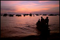 Fishing boat fleet at sunset. Vung Tau, Vietnam