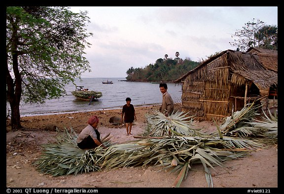 Fishing village with huts made of banana leaves. Hong Chong Peninsula, Vietnam (color)