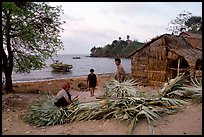 Fishing village with huts made of banana leaves. Hong Chong Peninsula, Vietnam