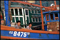 Fishermen on a commercial fishing boat. Ha Tien, Vietnam ( color)