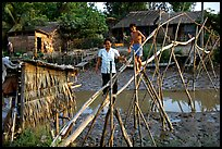 Bamboo bridge near Long Xuyen. Mekong Delta, Vietnam