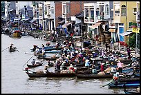 Busy waterfront at Phung Hiep. Can Tho, Vietnam (color)